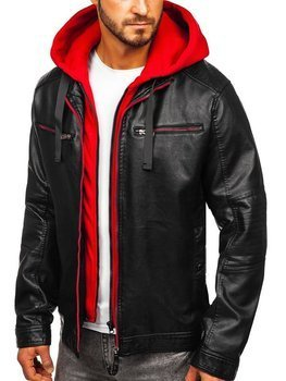 Men's Leather Hooded Jacket Black-Red Bolf 6129