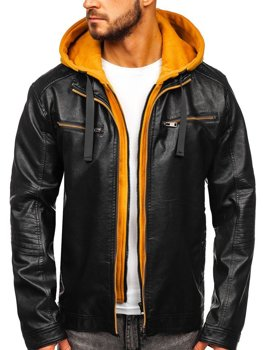 Men's Leather Hooded Jacket Black-Yellow Bolf 6129