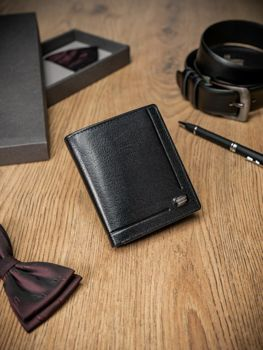 Men's Leather Wallet Black 347