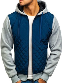Men's Lightweight Down Jacket Navy Blue Bolf a91