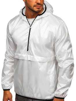 Men's Lightweight Hooded Sport Jacket White Bolf 5061