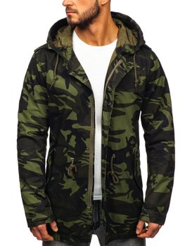 Men's Lightweight Parka Jacket Camo-Khaki Bolf 5391