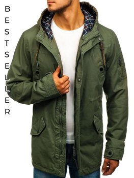 Men's Lightweight Parka Jacket Green Bolf 1818
