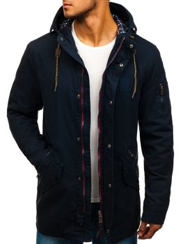 Men's Lightweight Parka Jacket Navy Blue Bolf 1819