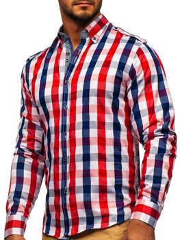 Men's Long Sleeve Checkered Shirt Red Bolf 2779