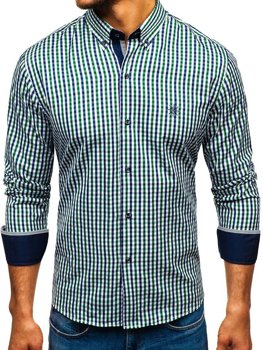 Men's Long Sleeve Checkered Vichy Shirt Green-Navy Blue Bolf 4712