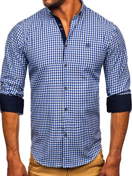 Men's Long Sleeve Checkered Vichy Shirt Navy Blue Bolf 4712
