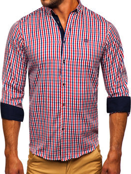 Men's Long Sleeve Checkered Vichy Shirt Red Bolf 4712