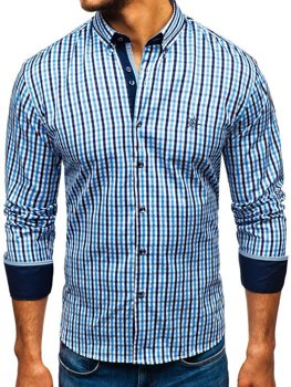 Men's Long Sleeve Checkered Vichy Shirt Sky Blue Bolf 4712