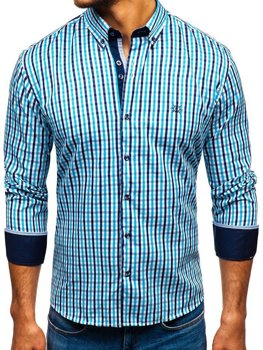 Men's Long Sleeve Checkered Vichy Shirt Turquoise Bolf 4712