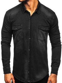 Men's Long Sleeve Denim Shirt Black Bolf 2063