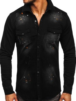 Men's Long Sleeve Denim Shirt Black Bolf R706