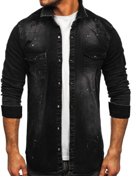 Men's Long Sleeve Denim Shirt Black Bolf R707