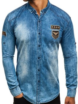 Men's Long Sleeve Denim Shirt Blue Bolf 0992