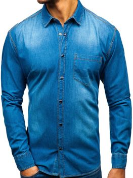 Men's Long Sleeve Denim Shirt Blue Bolf 1316