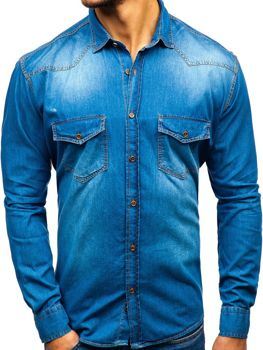 Men's Long Sleeve Denim Shirt Blue Bolf 1331