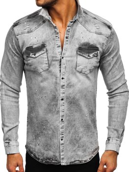 Men's Long Sleeve Denim Shirt Grey Bolf R709