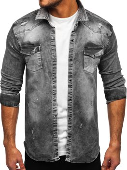Men's Long Sleeve Denim Shirt Grey Bolf R711