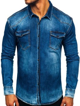 Men's Long Sleeve Denim Shirt Navy Blue Bolf 2063