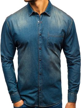 Men's Long Sleeve Denim Shirt Navy Blue-Grey Bolf 1316