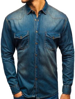 Men's Long Sleeve Denim Shirt Navy Blue-Grey Bolf 1331