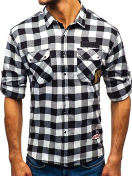 Men's Long Sleeve Flannel Shirt Black Bolf 2503