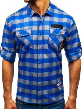 Men's Long Sleeve Flannel Shirt Blue-Grey Bolf 2503