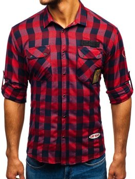 Men's Long Sleeve Flannel Shirt Red Bolf 2503