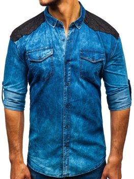 Men's Long Sleeve Patterned Denim Shirt Blue Bolf 0517