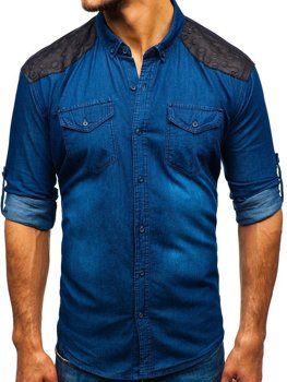 Men's Long Sleeve Patterned Denim Shirt Navy Blue Bolf 0517