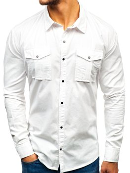 Men's Long Sleeve Shirt White Bolf 2058-1
