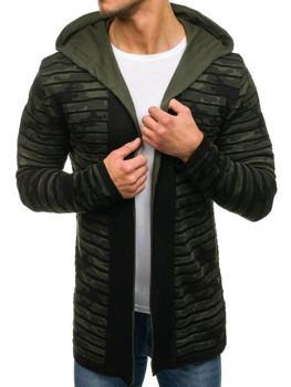 Men's Longline Hooded Jumper Black-Green Bolf 2166