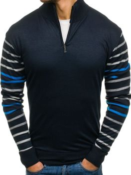 Men's Patterned Jumper Navy Blue-Blue Bolf LK1