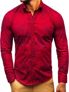 Men's Patterned Long Sleeve Shirt Claret Bolf 200G68
