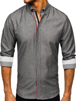 Men's Patterned Long Sleeve Shirt Graphite Bolf 8843