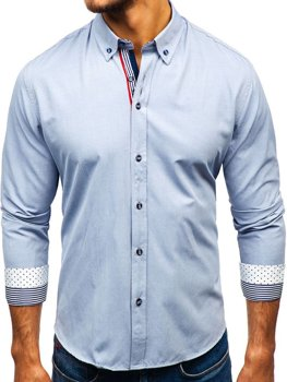 Men's Patterned Long Sleeve Shirt Grey Bolf 8843