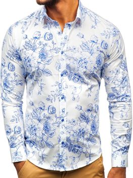 Men's Patterned Long Sleeve Shirt White-Blue Bolf 200G66