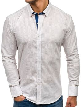 Men's Patterned Long Sleeve Shirt White Bolf GE1012