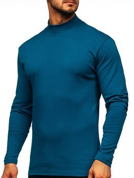 Men's Plain Half Polo Neck Sweater Teal Blue Bolf 145348