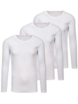 Men's Plain Long Sleeve Top White 3 Pack Bolf C10038-3P