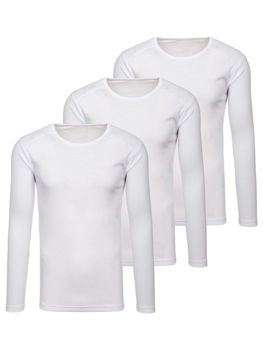 Men's Plain Long Sleeve Top White 3 Pack Bolf C10046-3P
