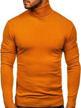 Men's Plain Polo Neck Sweater Camel Bolf YY02