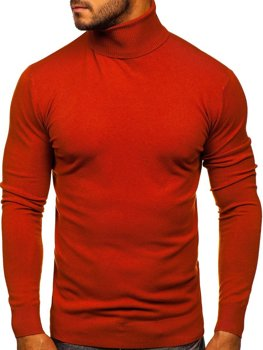 Men's Plain Polo Neck Sweater Orange Bolf YY02