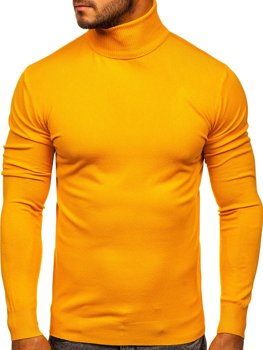 Men's Plain Polo Neck Sweater Yellow Bolf YY02