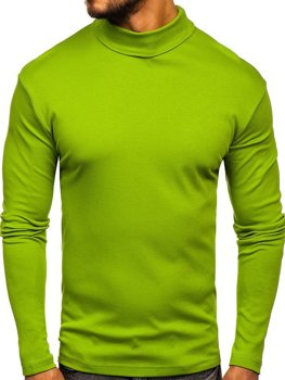 Men's Plain Turtleneck Jumper Light Green Bolf 145347