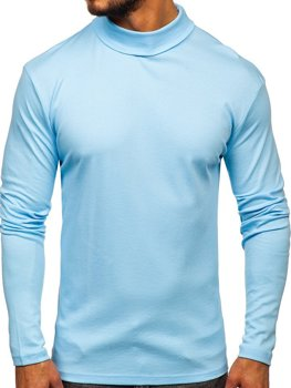 Men's Plain Turtleneck Jumper Sky Blue Bolf 145347