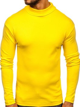 Men's Plain Turtleneck Jumper Yellow Bolf 145347