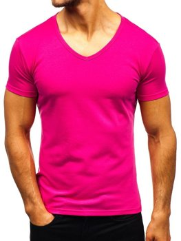 Men's Plain V-neck T-shirt Dark Pink Bolf AK888A