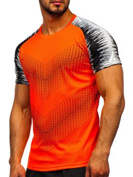 Men's Printed Gym T-shirt Orange Bolf KS2061