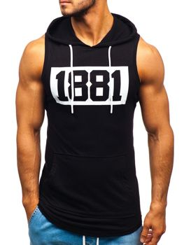 Men's Printed Hooded Tank Top Black Bolf 1281